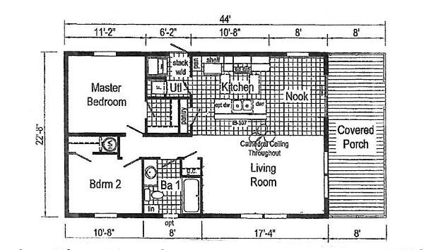Commodore Blazer Doublewide Home Bungalow TE210AY Floorplan