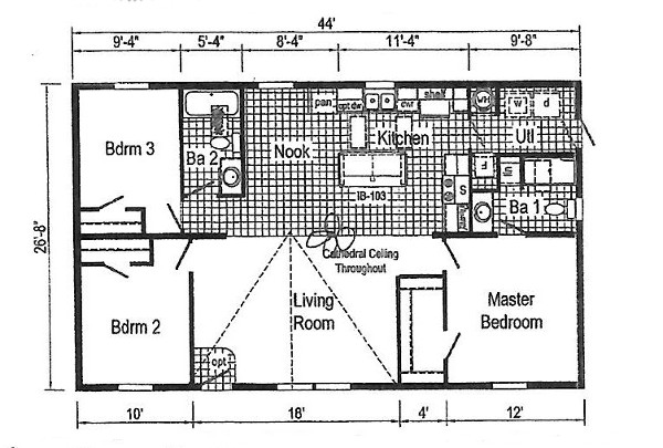 Commodore Blazer Doublewide Home TD103a Floorplan